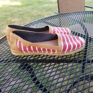 Sperry red and white striped espadrille flats